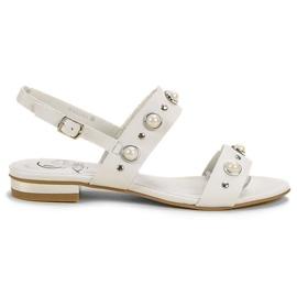Kylie blanco Sandalias planas cómodas