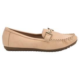 Top Shoes Mocasines De Mujer Beige marrón