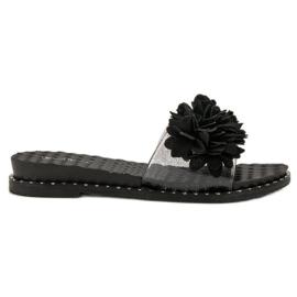 Anesia Paris negro Zapatillas De Goma Con Flores