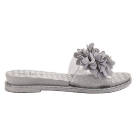 Anesia Paris gris Zapatillas De Goma Con Flores