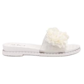 Anesia Paris blanco Zapatillas De Goma Con Flores