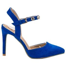 Kylie azul Stilettos con un talón expuesto.