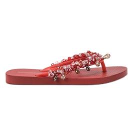 SHELOVET Chanclas de goma con adornos rojo
