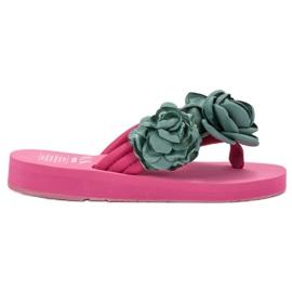 SHELOVET Chanclas ligeras con flores rosa