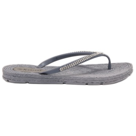 Seastar gris Chanclas Con Zirconitas