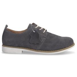 Zapatos con cordones de cuero LJ12 gris