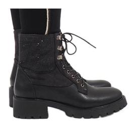 Ideal Shoes Botines negros con cordones y lentejuelas 1621.