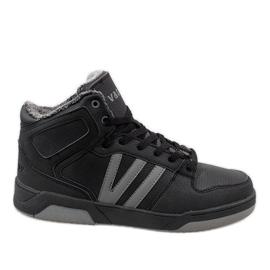 Negro Zapatillas altas negras con piel M667-2