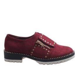 Rojo Braguitas sin cordones color borgoña con tachuelas U-6249