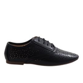 Negro Zapatillas de jazz caladas negras Oxford 3