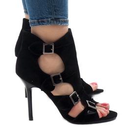 Sandalias negras en el ante stiletto GH048 negro