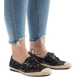 Zapatos negros de jazz calados, YW-888.