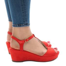 Sandalias cuña rojas 6-309 rojo