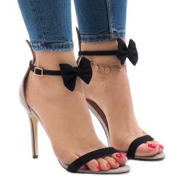Sandalias de gamuza grises arco de tacón alto ZJ-15P