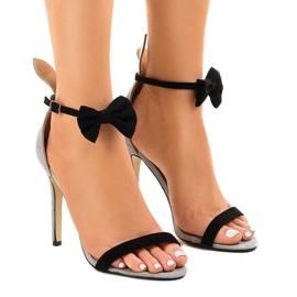 Sandalias de gamuza grises arco de tacón alto JZ-6334