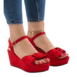 Rojo Sandalias rojas con lazo F055