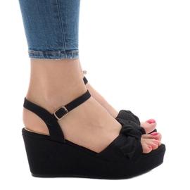 Sandalias de cuña negras con lazo F055 negro