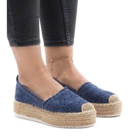Zapatillas de deporte azules alpargatas en plataforma 7801-P.