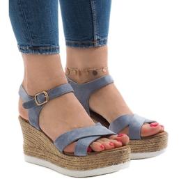 Sandalias azules en tacón de cuña XL104