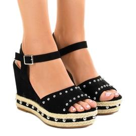 Negro Sandalias cuña negra perlas 77-32