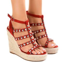 Sandalias rojas en paja cuña 9529 rojo