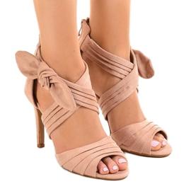 Sandalias de ante rosa tacones altos arco J-23