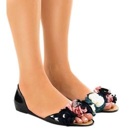 Sandalias negras meliski con flores AE20. negro