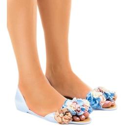 Sandalias azules meliski con flores AE20.