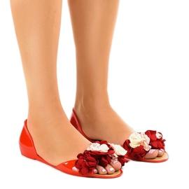 Sandalias rojas meliski con flores AE20. rojo