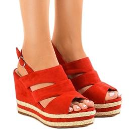 Alpargatas rojas FG6 sandalias de tacón de cuña rojo