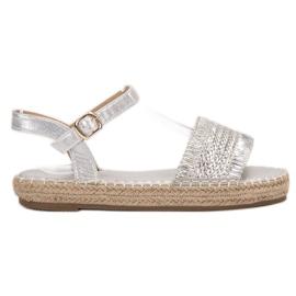 Small Swan gris Alpargatas sandalias de plata