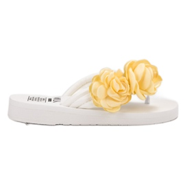 SHELOVET Chanclas ligeras con flores blanco