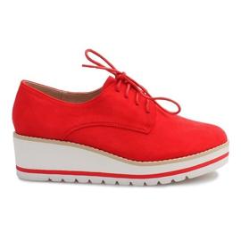 Rojo Zapatos en la cuña Jazzówki LM-029 Czerwony