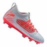 Botas de fútbol Puma Future 4.3 Netfit Fg / Ag Jr 105693-01 gris rojo, gris / plateado