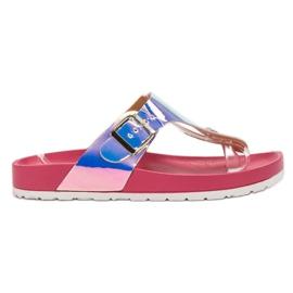 Ideal Shoes rosa Chanclas Con Efecto Holo
