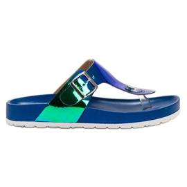 Ideal Shoes azul Chanclas Con Efecto Holo