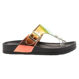 Ideal Shoes negro Chanclas Con Efecto Holo