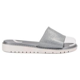 Fashion gris Chanclas brillantes de moda