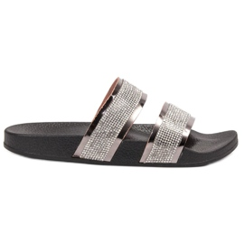 Ideal Shoes gris Zapatillas De Mujer Con Circonitas