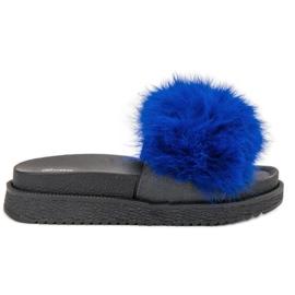 SHELOVET Zapatillas Con Piel azul