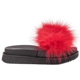 SHELOVET Zapatillas Con Piel rojo