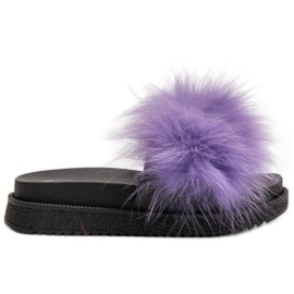 SHELOVET Zapatillas Con Piel púrpura