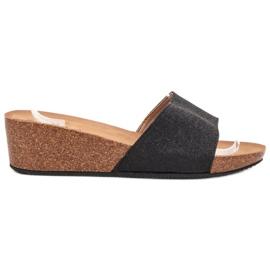 SHELOVET negro Zapatillas De Cuña Brillantes