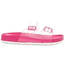 Ideal Shoes rosa Flaps Transparentes Se Hebilla