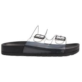 Ideal Shoes negro Flaps Transparentes Se Hebilla