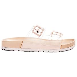 Ideal Shoes marrón Flaps Transparentes Se Hebilla
