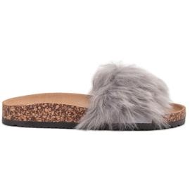 Bona gris Zapatillas Con Piel