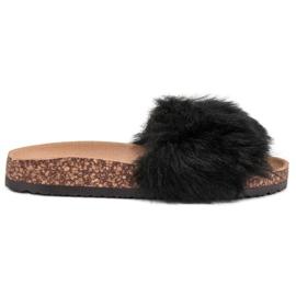 Bona negro Zapatillas Con Piel