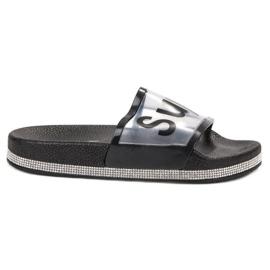 Bona negro Flip Flops transparentes