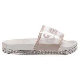 Bona gris Flip Flops transparentes